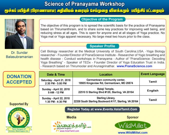 Science of Pranayama Workshop  by Dr.Sundar Balasubramanian